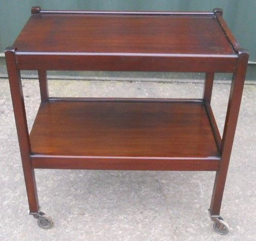 Mahogany Two Tier Tea Trolley